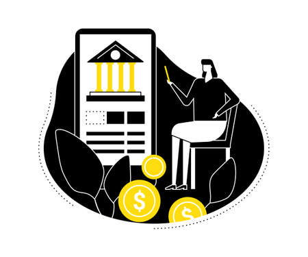 Mobile banking - flat design style vector illustration. Black, yellow and white composition with a woman using a smartphone, mobile app to make online financial operations, images of coins Иллюстрация