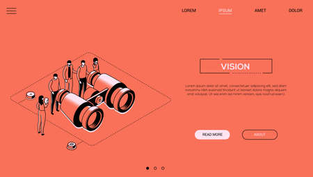 Business vision - line design style isometric web banner on orange background with copy space for text. A header with a team, colleagues looking through big binoculars, trying to find best solution