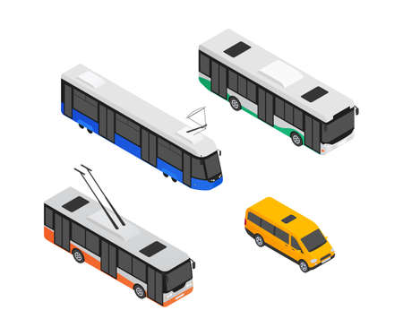 Public transport vehicles - modern vector isometric colorful elements isolated on white background. Quality set of different cars for creating your design. Images of a trolleybus, tram, minibus, bus 向量圖像