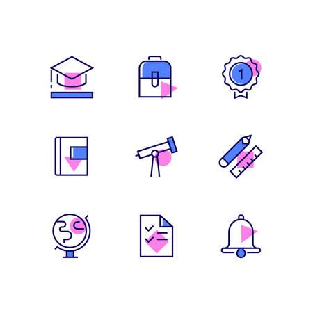 Educación - iconos de estilo de diseño de línea moderna en fondo blanco. Imágenes de alta calidad en azul y rosa de una gorra académica, bolso, insignia, libro, lápiz, regla, globo, prueba, campana, telescopio. Concepto de aprendizaje Ilustración de vector