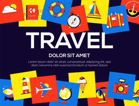 Travel - colorful flat design style web banner with copy space for text. High quality composition with bright images, camera, lighthouse, baggage, ice cream, yacht, anchor, passport. Vacation theme Illustration