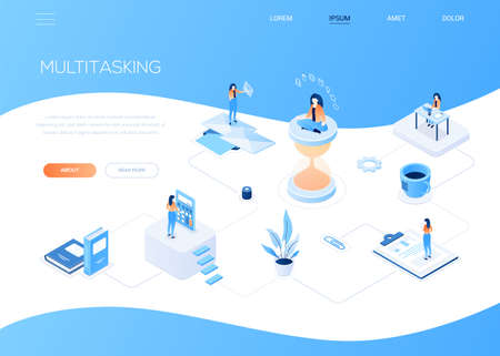 Multitasking concept - modern isometric vector web banner with copy space for text. Scenes with a businesswoman on hourglass, working at the desk, standing at a calculator, email, looking at diagrams