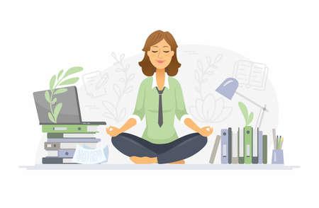 Achtsamkeit - moderne Vektorzeichentrickfilm-Figurenillustration auf weißem Hintergrund. Eine farbenfrohe Komposition mit einer Frau, die bei der Arbeit im Büro im Lotussitz meditiert und versucht, Stress abzubauen Vektorgrafik