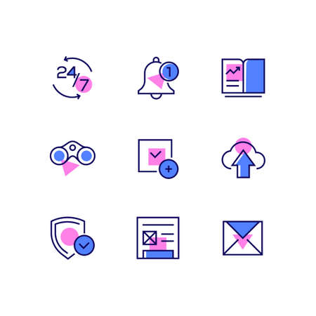 Business and management - line design style icons set. High quality images of a 24 hour by seven service symbol, bell, smartphone with diagram, binoculars, check mark, cloud, shield, document, email Иллюстрация