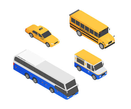 Public transport vehicles - modern vector isometric colorful elements isolated on white background. Quality set of different cars for creating your design. School bus, taxi, coach, ice cream truck