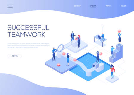 Successful teamwork - colorful isometric vector web banner with copy space for text. A website header with male, female business people, colleagues working together, placing boxes on a conveyer belt