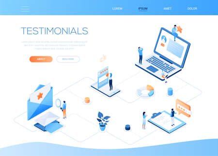 Testimonials - modern colorful isometric vector web banner