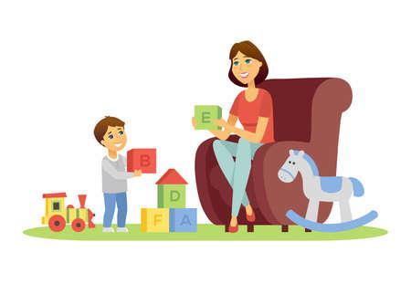 Moeder en zoon - cartoon personen personages illustratie op witte achtergrond. Jonge ouder zittend in een bank, abc kubussen tonend aan haar kind, spelend met speelgoed. Gelukkig gezin, educatief spelconcept