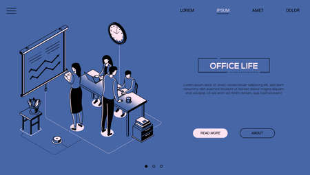 Office life - line design style isometric web banner on blue background with copy space for text. A header with business team, colleagues working at desks, flip chart with diagrams. Workflow concept Illustration
