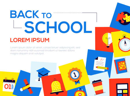 Back to school - colorful flat design style web banner with copy space for text. A composition with bright images, academic cap, medal, calendar, stopwatch, test, book, calculator. Education theme