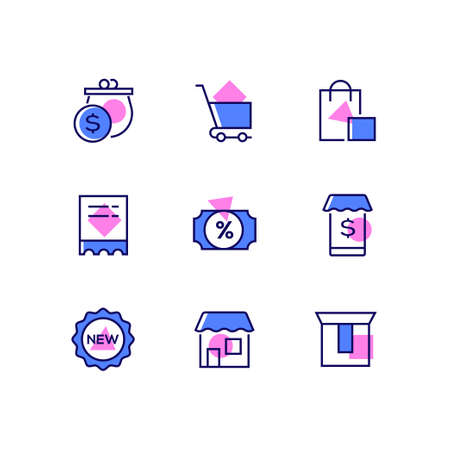 Online shopping - line design style icons set. High quality blue and pink images of a purse, cart, bags, sale and new labels, mobile app, store, cardboard. E-commerce concept 矢量图像