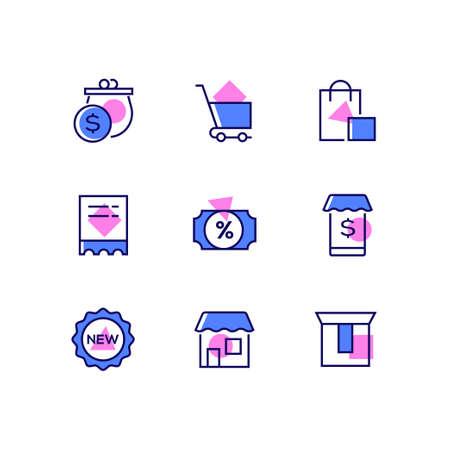 Zakupy online - zestaw ikon stylu projektowania linii. Wysokiej jakości niebiesko-różowe zdjęcia torebki, koszyka, toreb, wyprzedaży i nowych etykiet, aplikacji mobilnej, sklepu, kartonu. Koncepcja e-commerce