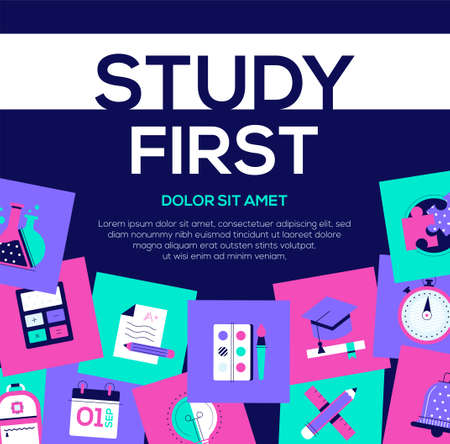 Study first - colorful flat design style web banner with copy space for text. A composition with bright images, academic cap, calendar, stopwatch, test, school bag, calculator, flask. Education theme
