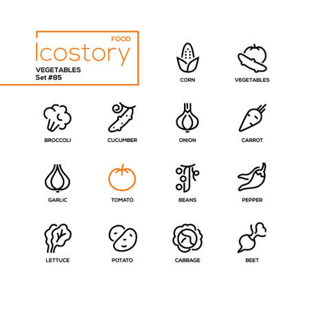 Vegetables - modern line design style icons set