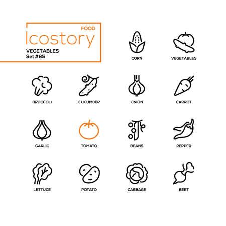 Vegetables - modern line design style icons set