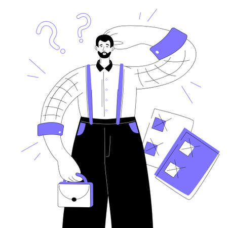 Productivity concept - modern colorful flat design style illustration on white background. A purple colored composition with a confused employee scratching his head, check lists with unfulfilled tasks