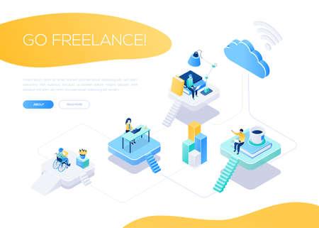 Go freelance - modern isometric vector web banner