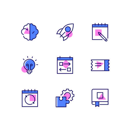 Business and management - line design style icons set with color accents. High quality collection with a brain, rocket, calendar, lightbulb, tasks, ticket, update sign, puzzle and gear, book