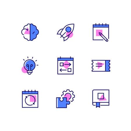 Negocios y gestión: iconos de estilo de diseño de línea con acentos de color. Colección de alta calidad con cerebro, cohete, calendario, bombilla, tareas, boleto, letrero de actualización, rompecabezas y equipo, libro