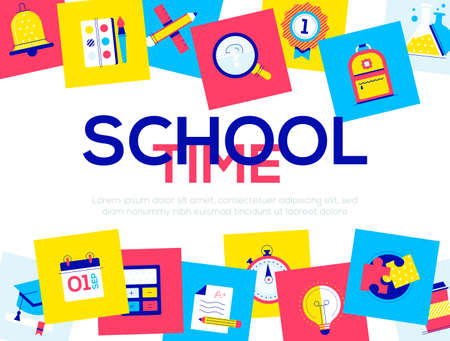 School time - colorful flat design style web banner with copy space for text. A composition with bright images, academic cap, calendar, stopwatch, test, book, flask, brush and paints. Education theme