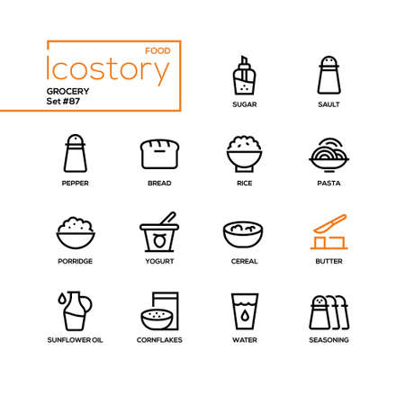Grocery - modern line design style icons set. Images of sugar, sault, pepper, bread, rice, pasta, porridge, yogurt, cereal, butter, sunflower oil, cornflakes, water, seasoning. Food products concept