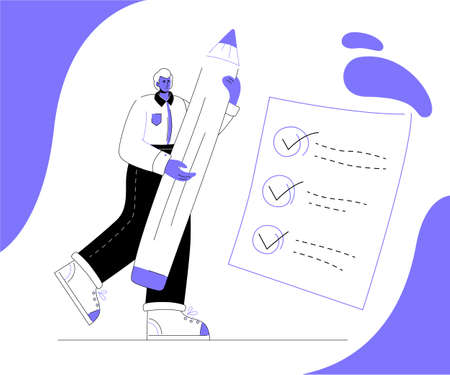 Task management - modern colorful flat design style illustration on white background. Quality composition with a businessman holding a pencil, placing ticks on a check list. Business planning concept