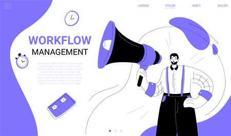 Workflow management - flat design style web banner with copy space for text. A purple colored header with a businessman holding a megaphone. Images of a check list, clock, stopwatch. Marketing concept