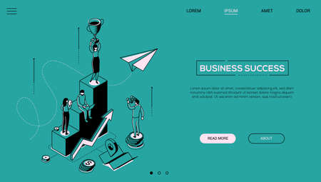Business success - line design style isometric web banner on green background with copy space for text. A header with businesswoman standing on the top of staircase, holding a cup. Victory concept