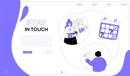 Stay in touch - flat design style web banner with copy space for text. A purple colored website header with business people, two women discussing the task from different places. Remote access concept Ilustração