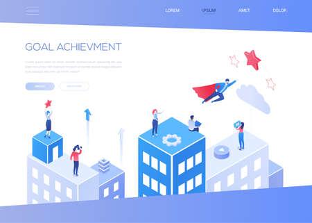 Goal achievement - modern isometric vector web banner Stock Illustratie