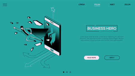 Business hero - line design style isometric web banner Ilustração