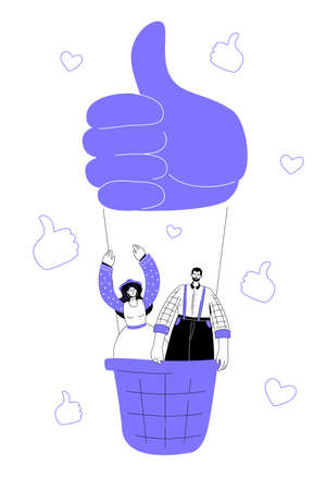 Social media marketing - modern flat design style colorful illustration on white background. A composition with smm specialists, boy, girl flying up on a hot air balloon, thumbs up and likes, hearts
