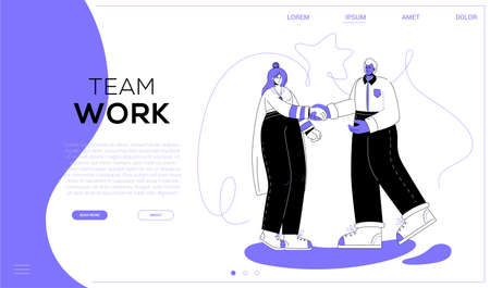 Team work - colorful flat design style web banner with copy space for text. A purple colored website header with business people, two women holding puzzle pieces. Problem solving concept