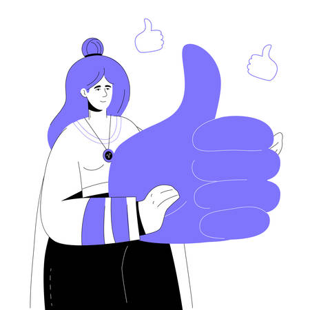 SMM specialist - colorful flat design style illustration with linear elements. A purple colored composition with a stylish smiling girl holding a big thumb up symbol. Social media marketing theme