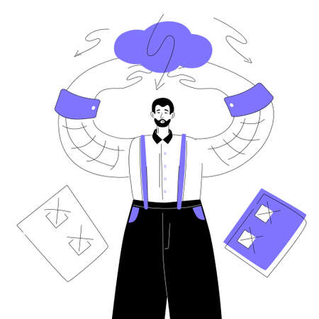 Problems with planning - modern colorful flat design style illustration on white background. A purple colored composition with a confused employee, check lists with unfulfilled tasks. Deadline concept