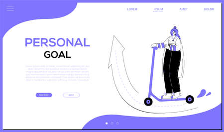 Personal goal - colorful flat design style web banner with copy space for text. A purple colored header with a female character, stylish girl riding a scooter on a road going up. Ambition theme
