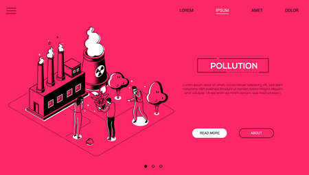 Pollution - line design style isometric web banner on red background with copy space for text. Website header with male, female characters in face masks, big plant, bio hazard symbol. Ecology concept Illustration