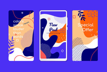 Colorful mobile screen templates - set of modern vector backgrounds. High quality purple, blue, orange wallpapers, stories with textures and blurs, floral elements and abstract shapes in retro style