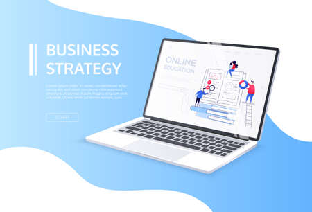Online education - flat design style colorful web banner with the place for your title and text. A workplace concept with a laptop. A scene with male, female characters on the screen, images of books 일러스트