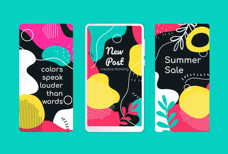 Bright mobile screen templates - set of modern vector abstract backgrounds. High quality yellow, turquoise, pink, black, red wallpapers, stories with textures and blurs in trendy retro style