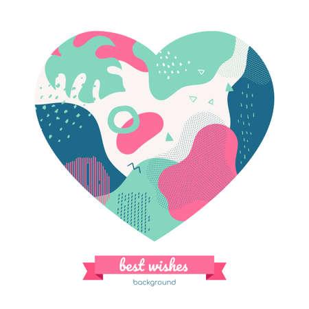 I migliori auguri - banner astratto colorato in stile design piatto in una cornice a forma di cuore. Biglietto di auguri di alta qualità, modello di invito con trame e sfocature. Poster romantico turchese, rosa, blu, volantino
