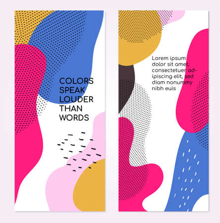 Colorful templates - set of modern abstract vertical banners with copy space for text. High quality blue, pink, yellow, white posters, cover designs with textures and blurs in trendy retro style