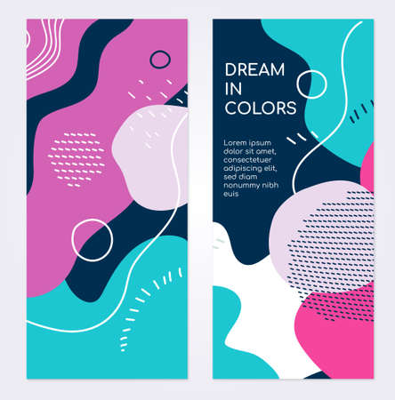 Colorful templates - set of modern abstract vertical banners with copy space for text. High quality blue, pink, purple backgrounds with textures and blurs in retro style for presenting your business 向量圖像