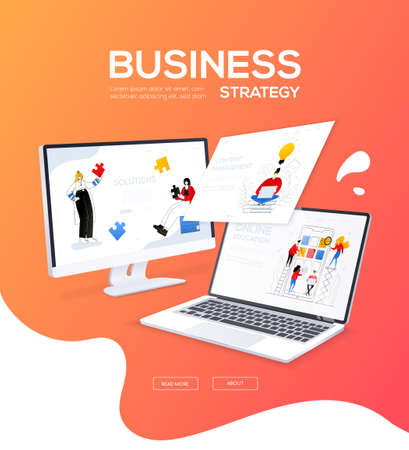 Business strategy - flat design style colorful web banner with place for your text. A composition with a computer and laptop with a team on the screens. Solutions, content management, online education