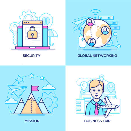 Business - set of line design style colorful illustrations. Images of a laptop with protected data, globe, mountain top, a businessman, plane. Security, global networking, mission, trip concepts
