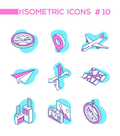 Traveling and location - line design style isometric objects on white background. A collection of pink, blue elements, compass, map pointer, baggage, paper plane, camera, arrows. Vacation concept