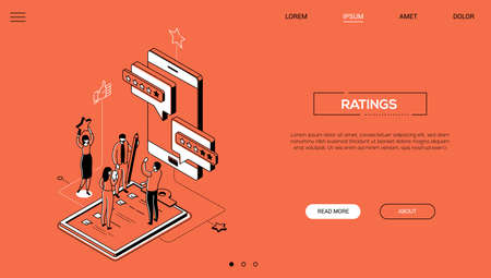 Ratings - line design style isometric web banner on orange background with copy space for text. A header with male, female workers putting stars, comments on smartphone screen. Feedback concept