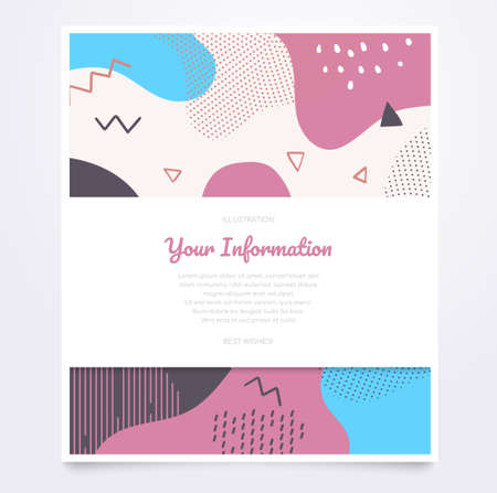 Brochure on abstract background - modern vector banner with copy space for your text, information. High quality unusual blue, pink document, certificate template, poster with textures, dots and blurs 向量圖像