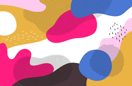 Bright colorful background - modern vector abstract composition in trendy retro style of 80s. High quality unusual blue, pink, yellow, white, brown splashes of color with textures, dots, shapes, forms
