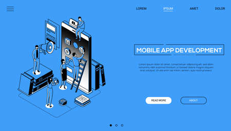 Mobile app development - line design style isometric web banner on blue background with copy space for text. A header with characters, developers designing a smartphone interface, placing buttons Ilustracja